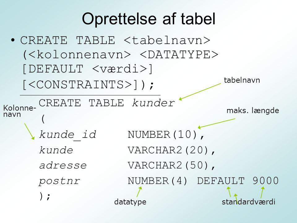 Oprettelse af tabel CREATE TABLE <tabelnavn> (<kolonnenavn> <DATATYPE> [DEFAULT <værdi>] [<CONSTRAINTS>]);